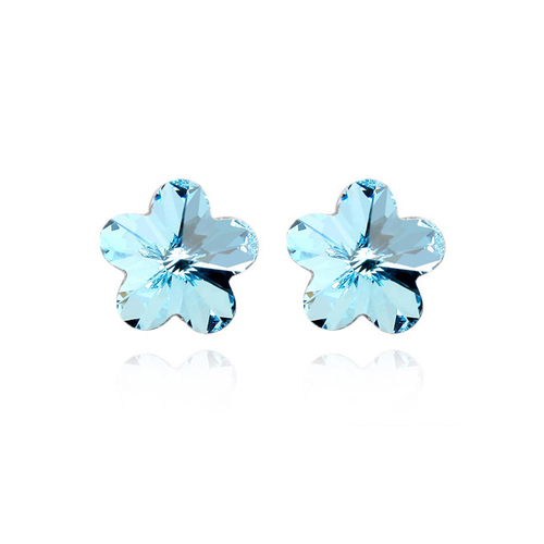 Обеци SWAROVSKI® FLORAL Aquamarine AB - Светло син, Код PR E204