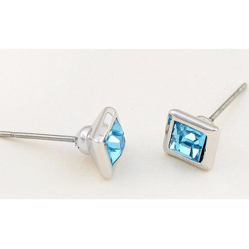 Обеци SWAROVSKI® BLUE MOOD 5мм Aquamarine AB - Светло син, Код PR E207