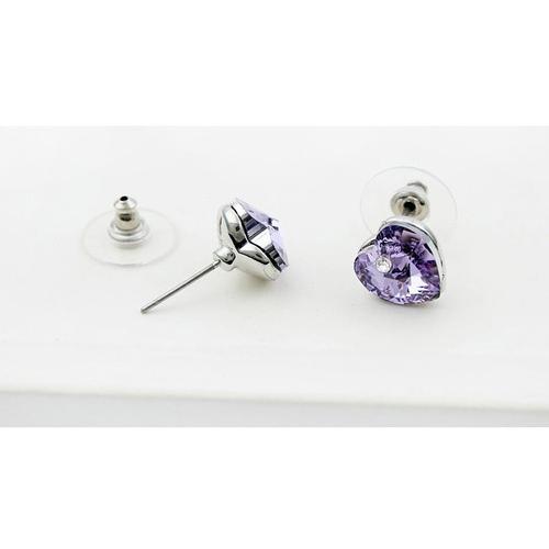 Обеци SWAROVSKI® VALENTINE HEART 10 мм, Violet AB - Светло лилав, Код PR E210