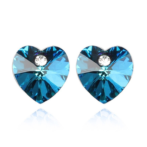 Обеци SWAROVSKI® VALENTINE HEART 10 мм, Bermuda Blue BBL, Син, Код PR E213
