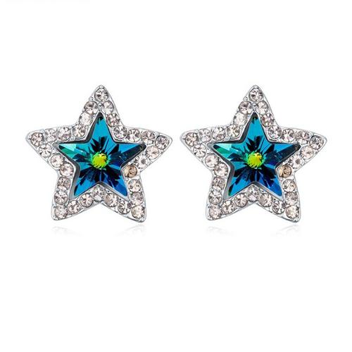 Обеци SWAROVSKI® BRIGHT STAR Vitrail Medium** VM, Зелен, Код PR E215
