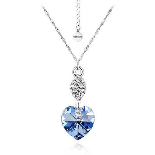 Колие SWAROVSKI® HEART OF OCEAN, Light Sapphire, Син, Код PR N127