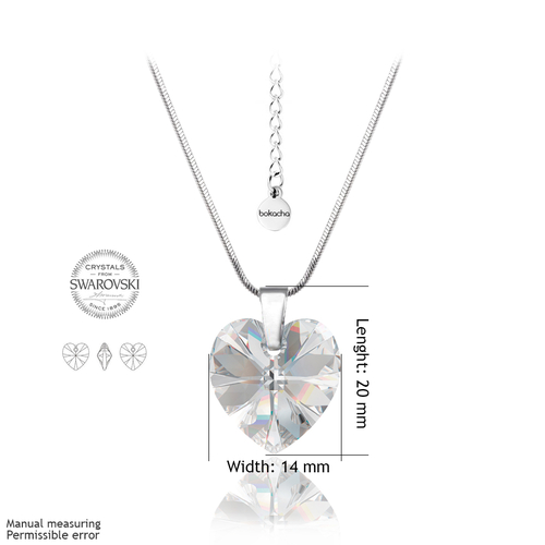 Колие SWAROVSKI® HEART Crystal AB 14 мм, Бял цвят, Код PR N001