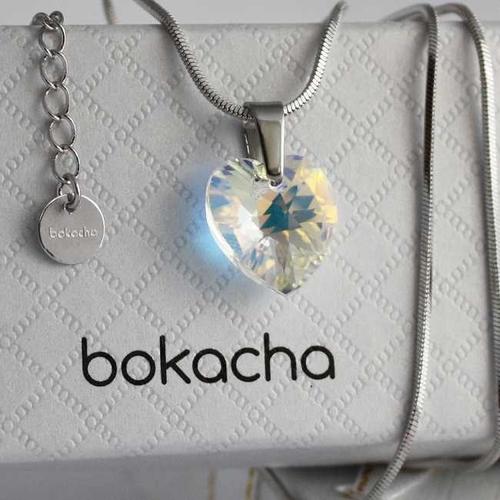 Бижута SWAROVSKI® HEART Crystal AB, Бял цвят, Колие,обеци и гривна (14, 10, 10 мм),  Код PR S001A