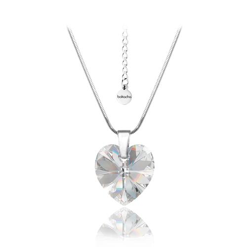 Бижута SWAROVSKI® HEART Crystal AB, Бял цвят, Колие и обеци (14 и 10 мм),  Код PR S001