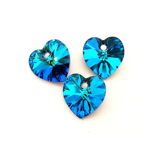 Бижута SWAROVSKI® HEART Bermuda Blue BBL, Син цвят, Колие и обеци (14 и 10 мм),  Код PR S002