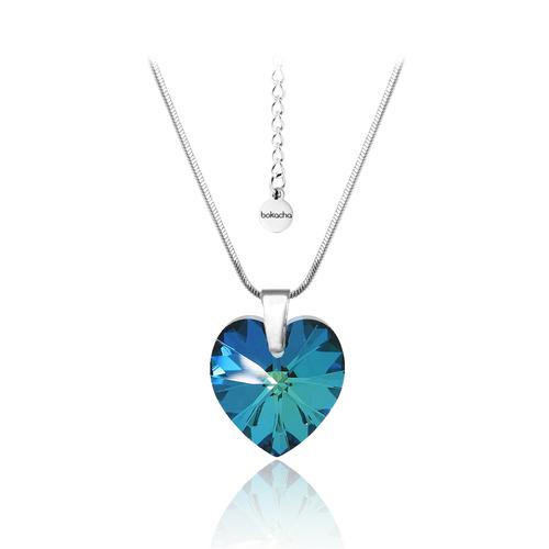 Колие SWAROVSKI® HEART Bermuda Blue BBL 14 мм, Син цвят, Код PR N002