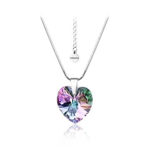 Бижута SWAROVSKI® HEART Vitrail Light** VL, Лилаво-зелен цвят, Колие и обеци (14 и 10 мм),  Код PR S003
