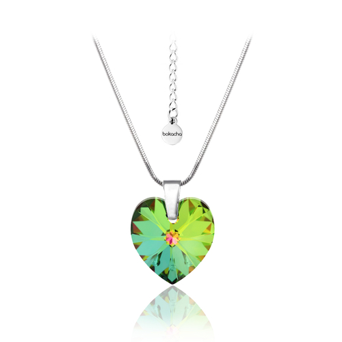 Колие SWAROVSKI® HEART Vitrail Medium** VM 14 мм, Зелен цвят, Код PR N004