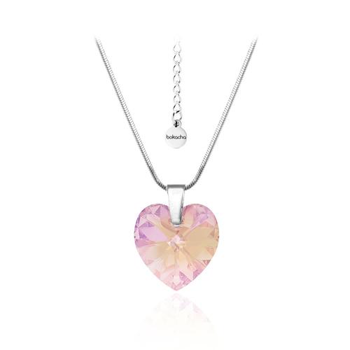 Колие SWAROVSKI® HEART 14мм, Light Rose AB - Розов, Код PR N009
