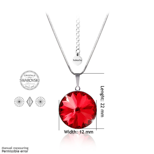 Колие SWAROVSKI® RIVOLI 12мм Light Siam АВ - Червен цвят, Код PR N025
