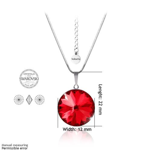 Бижута SWAROVSKI® RIVOLI Light Siam АВ - Червен цвят, Колие с обеци на винт (12мм и 8мм),  Код PR S025A