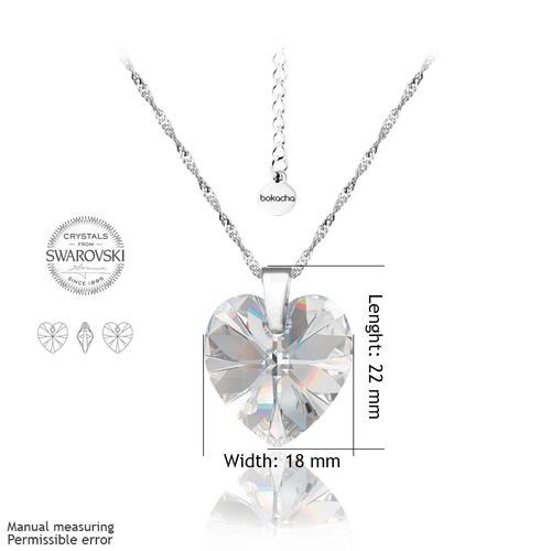Колие SWAROVSKI® BIG HEART Crystal AB 18 мм, Бял, Код PR N031