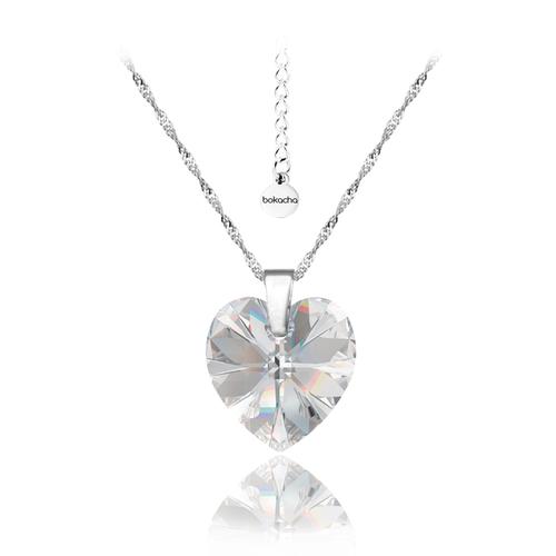 Бижута SWAROVSKI® BIG HEART Crystal AB, Бял, Колие и Обеци 14мм,  Код PR S031