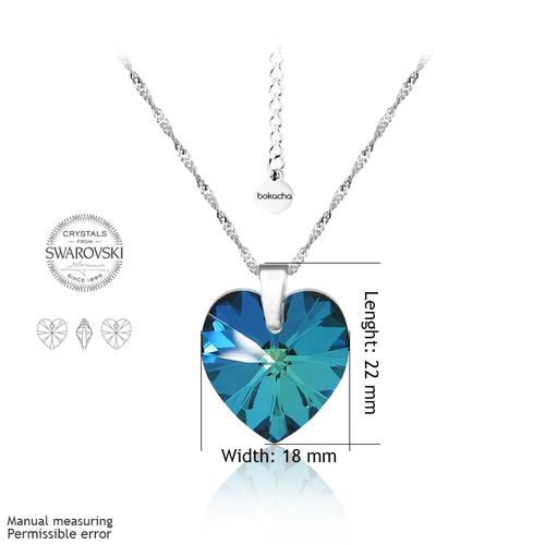 Колие SWAROVSKI® BIG HEART Bermuda Blue BBL 18 мм, Син, Код PR N032