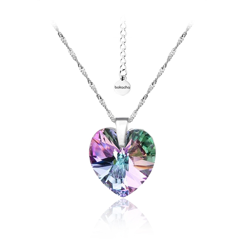 Бижута SWAROVSKI® BIG HEART Vitrail Light** VL, Лилаво-зелен, Колие и обеци 14 мм,  Код PR S033