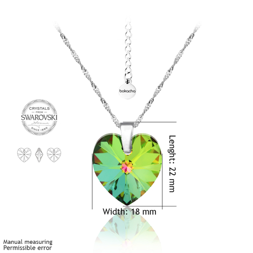 Колие SWAROVSKI® BIG HEART Vitrail Medium** VM 18 мм, Зелен, Код PR N034