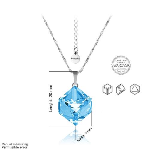 Колие SWAROVSKI® CUBE 8мм Aquamarine AB - Светло син, Код PR N040