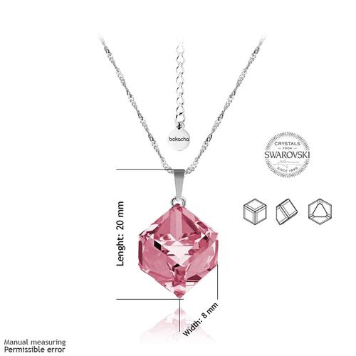 Колие SWAROVSKI® CUBE 8мм Light Rose AB - Розов, Код PR N042