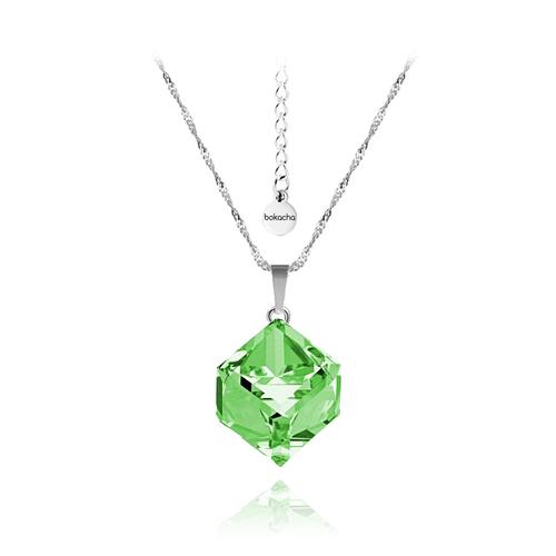 Колие SWAROVSKI® CUBE 8мм Peridot - Зелен, Код PR N044