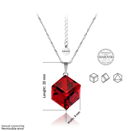 Колие SWAROVSKI® CUBE 8мм Light Siam АВ - Червен цвят, Код PR N045