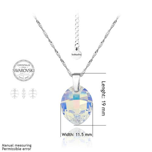 Колие SWAROVSKI® LEAF 14мм Crystal AB, Бял, Код PR N051