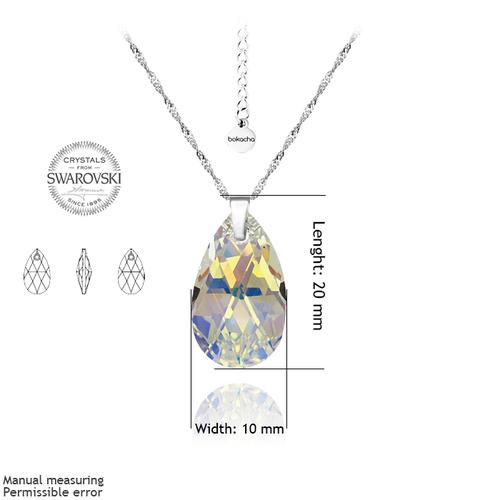 Бижута SWAROVSKI® PEAR DROP Crystal AB, Бял, Колие и Обеци, 16мм, Код PR S101