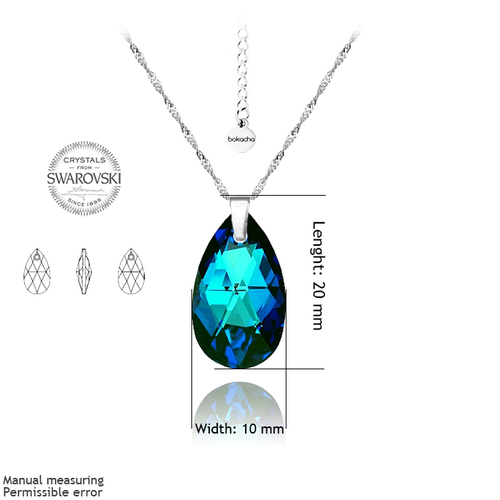 Бижута SWAROVSKI® PEAR DROP Bermuda Blue BBL, Син, Колие и Обеци, 16мм, Код PR S102