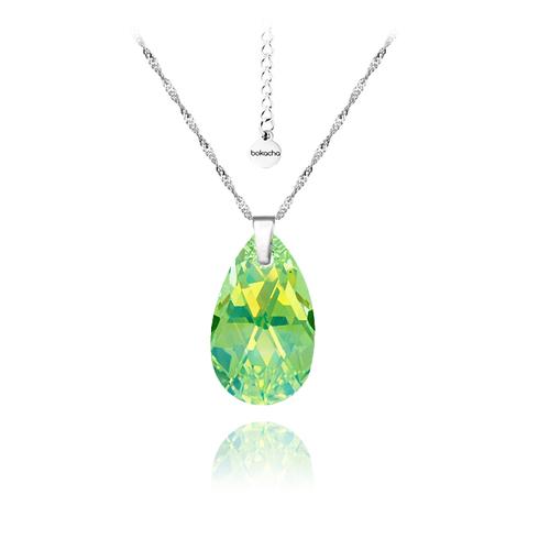 Колие SWAROVSKI® PEAR DROP 16мм Peridot - Зелен, Код PR N106