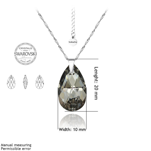 Колие SWAROVSKI® PEAR DROP 16мм Silver Night** AB - Черен, Код PR N108