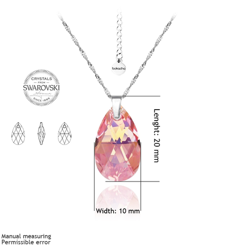 Бижута SWAROVSKI® PEAR DROP Light Rose AB - Розов, Колие и Обеци, 16мм, Код PR S109