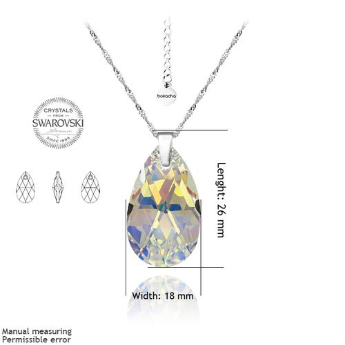 Бижута SWAROVSKI® BIG PEAR DROP Crystal AB, Бял, Колие и Обеци, 22мм, Код PR S111