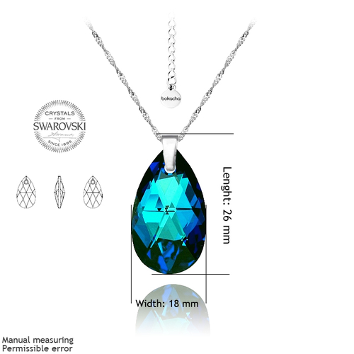 Колие SWAROVSKI® BIG PEAR DROP 22мм Bermuda Blue BBL, Син, Код PR N112