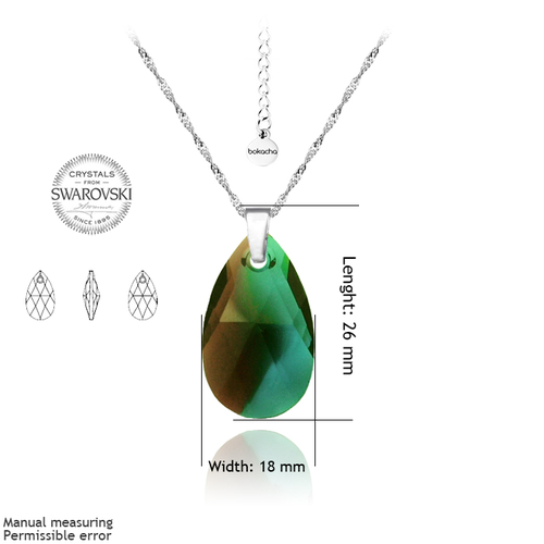 Колие SWAROVSKI® BIG PEAR DROP 22мм Burgundy-Blue Zircon Blend- Зелен, Код PR N114