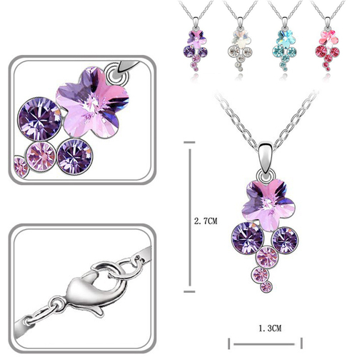 Бижута SWAROVSKI® FLORAL Violet AB - Светло лилав, Колие с обеци,  Код PR S121