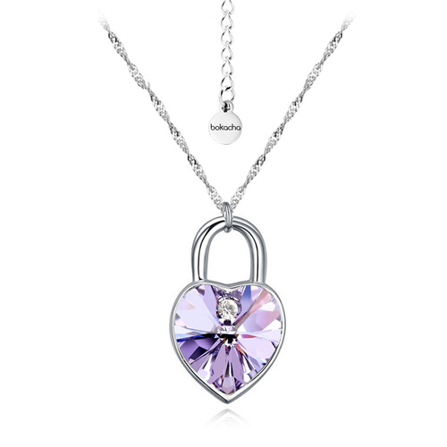 Бижута SWAROVSKI® KEY OF HEART Violet AB - Светло лилав, Колие и обеци,  Код PR S129