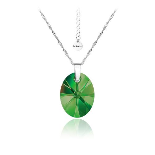 Колие SWAROVSKI® OVAL 12 мм Emerald**, Зелен, Код PR N154