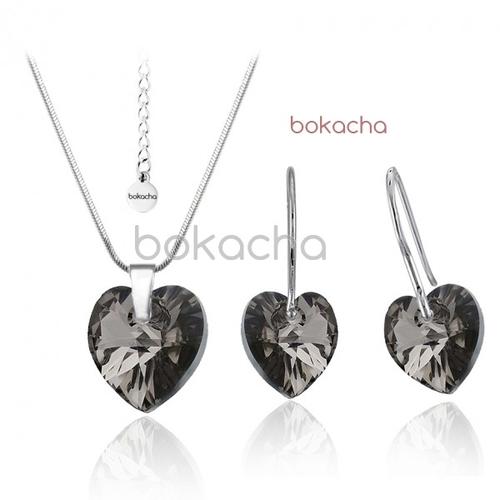 Бижута SWAROVSKI® HEART Silver Night** AB - Черен, Колие,обеци и гривна (14, 10, 10 мм),  Код PR S008A