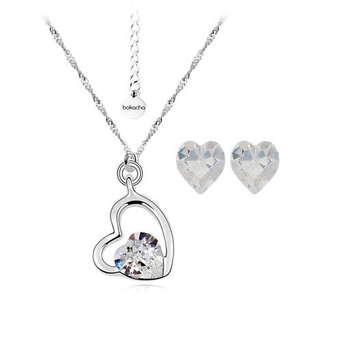 Бижута SWAROVSKI® SWEET HEART Crystal, Бял, Колие, обеци и гривна (8, 6 и 10 мм),  Код PR S115-3
