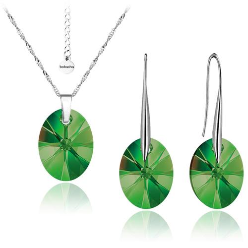 Бижута SWAROVSKI® OVAL 12мм Emerald**, Зелен, Колие и Обеци, Код PR S154