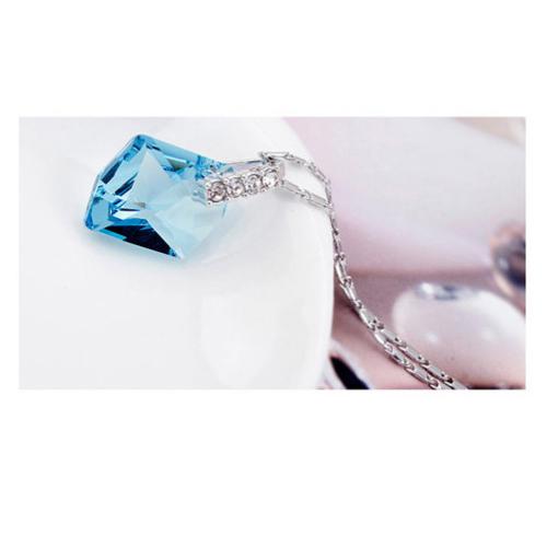 Комплект бижута ЕЛЕГАНС КРИСТАЛ колие и обици с кристали Сваровски. Син, код PR S113