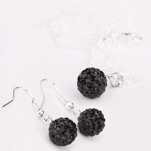 925SBD E09063 Обици Шамбала, черни кристали!