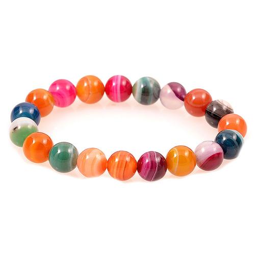 ПЪСТРА ЕСЕН, Гривна от естествени камъни разноцветни Ахат, UB B011