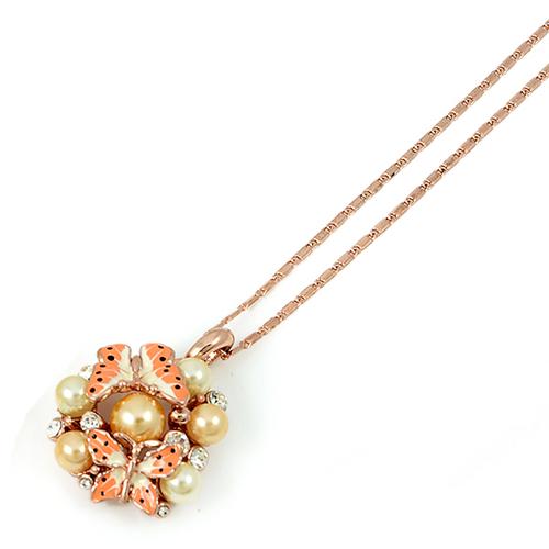 Колие ПЕТЯ със Синтетични перли, Австрийски кристали и 18К Розово злато, Колекция UB Unique Boutique UB N108