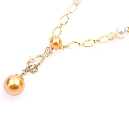 Колие ЖУЛИЕТ с Austrian crystals, Синт. перла и 18К Жълто злато, UB Unique Boutique, Код UB N159