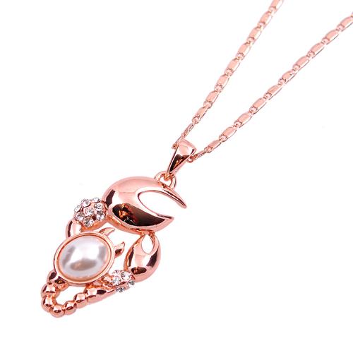 Колие ПЕРЛЕНО РАЧЕ с Austrian crystals и 18К Розово Златно Покритие, UB Unique Boutique, Код UB N181
