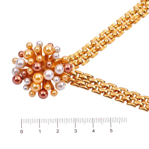 Колие АРИЗОНА със Синтетични перли и 18К Жълто Златно Покритие, UB Unique Boutique, Код UB N210