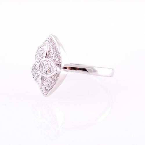 Пръстен НОРАН с Австрийски Кристали и 18К Бяло Злато, Размер: 7, UB Boutique #UB R074