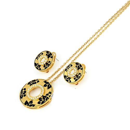 Обици и колие ДЖУЛИ, 18К Жълто Злато и Австрийски кристали, Колекция UB Unique Boutique #UB S186