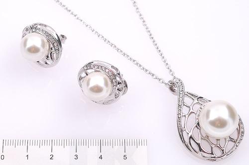 Колие и Обеци ЛОРНА с Австрийски кристали и синтетични перли, Колекция UB Unique Boutique  #UB S210